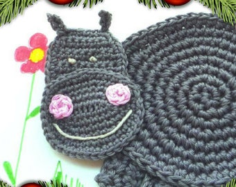 Hippo Coaster - Crochet Coaster - Kids Coaster - Hippo Mug Rug - Nursery Decor - Animal Coaster- Hippopotamus - Baby Shower Gift - For Boy