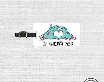 Luggage Tag I Chews You Funny Zombie Valentine Love Metal Luggage Tag With Printed Custom Info On Back, Single Tag