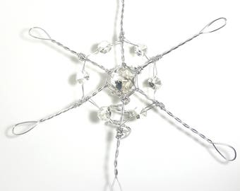 Silver Crystal Snowflake Tree Topper - large classic metal handmade tree topper - Christmas snowflake - silver snowflake decoration - 1127s