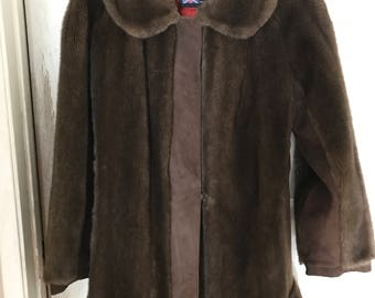 60's Vintage Faux Fur and Suede Coat - Adolph Schuman for Lilli Ann