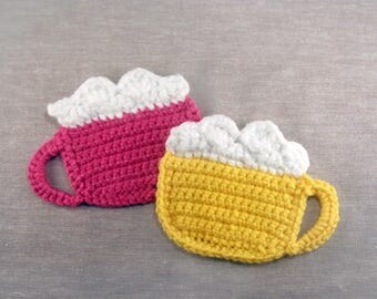 Cocoa Mug Coaster Set of 2 - Crochet - Applique