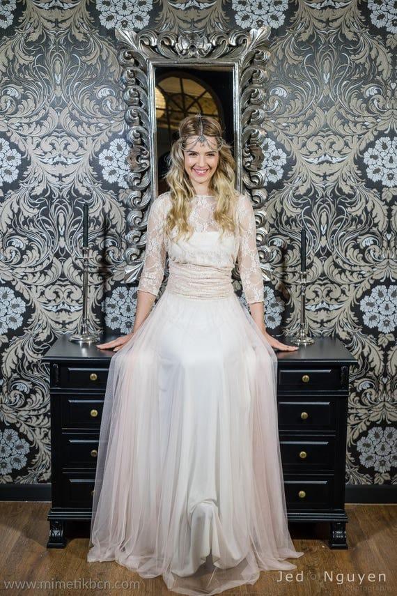 Hellrosa Spitze Brautkleid Tüll und Spitze Brautkleid Tüll