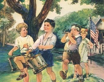 Patriotic band illustration spirit of 76 8 x 10 image reproduction print. Vintage image