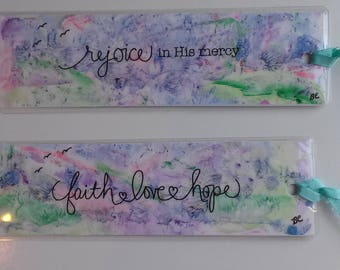 Set of Abstract ORIGINAL Unique Laminated  Watercolor Bookmarks Painted on Yupo Paper