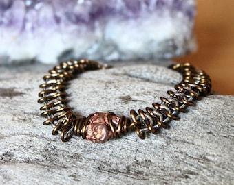 Copper Nugget Bracelet - Natural Copper Jewelry - Raw Stone Jewelry - Festival Fashion - Bohemian Jewelry - Handmade Chain - Gypsy Bracelet