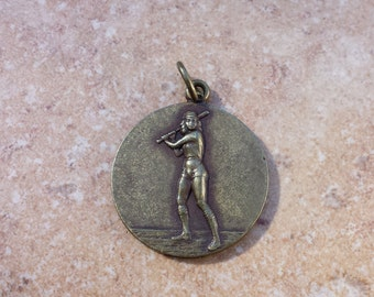 Woman Softball Player Bat in Hand, Raised Figure,  Round Metal Pendant, Athletic Sports Softball Medal Award