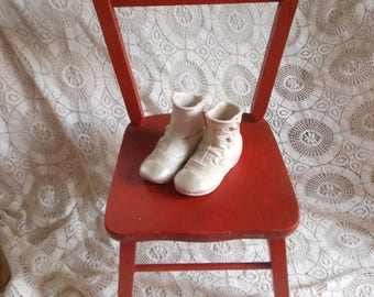 Vintage Red Doll Child's Chair Carl Bissman Original Paint Decal at Quilted Nest