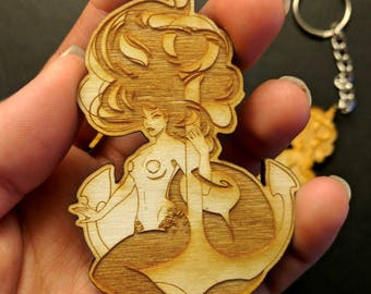 Mermaid on an Anchor laser engraved wooden keychain