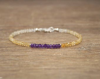 Citrine and Amethyst Bracelet, Citrine Jewelry, Shaded, Ombre, Beaded, November, February Birthstone, Gemstone Bracelet