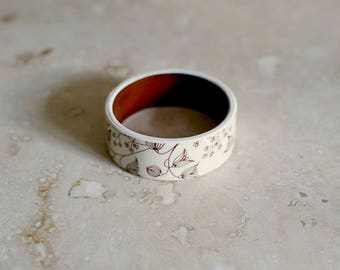 StayGoldMaryRose - Vintage 70's floral pattern in ivory and cocoa brown glaze tea cup bracelet. Small fit.