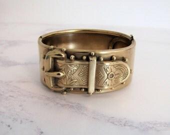 Antique Victorian Gold Belt Buckle Hinged Bracelet. Etruscan Revival Antique Garter Belt Wide Cuff Bangle. Sentimental Sweetheart Bracelet