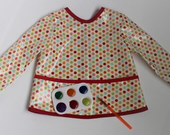 READY TO SHIP 2/3 Long Sleeve Toddler Baby Bib Kids Art Smock in Cream with Multi Colored Dots