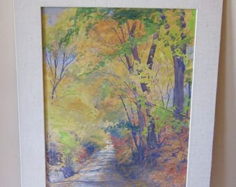 Signed Vintage Autumn Landscape - Original Watercolor Painting - Matted but Unframed - Illegible Signature