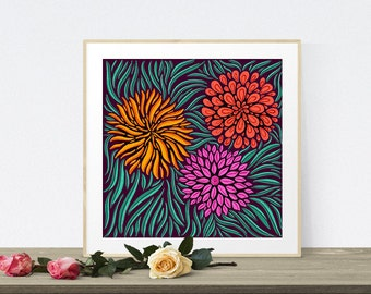 Floral Retro Illustration Giclee Fine Art Print