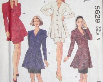 Vintage Easy Fashion Basics Sewing Pattern McCall's 5629 Fitted Flared Tunic Top Skirt, Dress Womens Misses Ensemble Size 8 Bust 31 Uncut FF