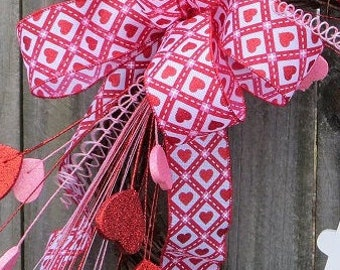 Valentine's Day Bow, Valentine's Day Hearts Wreath Bow Only, Valentine Wreath With Hearts, Hearts and Argyle Bow