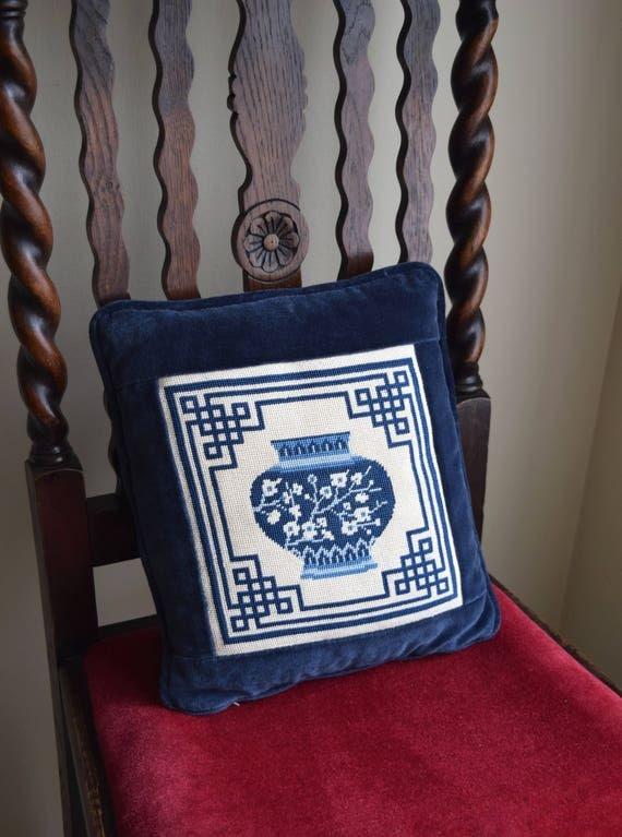 Vintage Sapphire Blue & White Embroidered Pillow - Asian, Zen, Boho, French Farmhouse