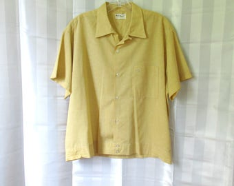 Vintage Shirt Mens Jac Shirt 1950s Style Yellow Ochre White Short Sleeve 50 Chest 48 Hall Prest 1960s 1970s Large Man 16 16-1/2