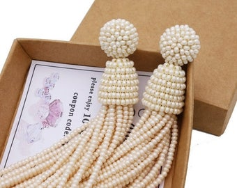 ON SALE Pearl color beaded tassel Earrings with Clip on or sterling SILVER stud / high quality handmade dangle earrings / Choose your lenght