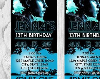 Shawn Mendes Printable Birthday Invitation Ticket; Digital Graphic Design