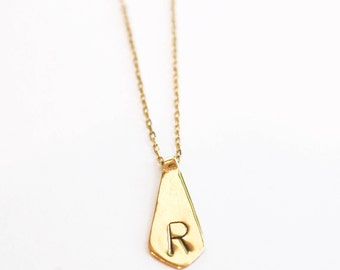 Extra Large Personalized Gold Necklace - Dainty Gold Letter Charm -Solid Gold Letter Necklace-Monogram Pendant Necklace-Golden Initial Charm