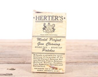 Vintage Herter's Model Perfect 27 35 Caliber Gun Cleaning Patches / Hunting Room Decor / Camping Decorations / Fishing Decor / Outdoor Decor