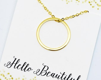 Circle Necklace Gold Infinity Necklace Gold Jewelry Gift for Sister Necklace Gift for Best Friend Necklace LimonBijoux