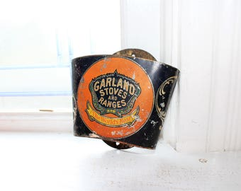 Tin Advertising Broom Holder Garland Stoves and Ranges Antique 1800s