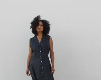 Black linen dress 90s  linen maxi dress