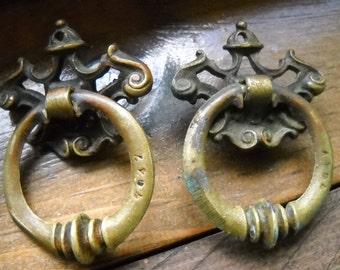 Vintage Brass Door Knocker Style Drawer Pulls, Restoration Hardware, Steampunk Decor, 2 Victorian Drawer Pulls, Pair of Pulls