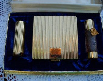 Vintage Powder Compact Lipstick and Perfume, Unused Cody Compact Set, Gold L'origan Perfume , Compact and Lipstick, Square Compact Set
