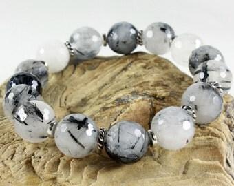 Tourmaline Quartz Bracelet, stretchable bracelet, white black gemstone, silver, semi-precious, natural stones, stackable, holiday gift ,3941