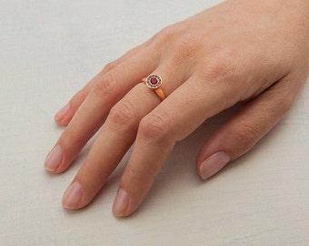 Ruby & Black Diamond Ring, 18K Rose Gold Ruby Cluster Ring, Women's Ruby Ring, Black Diamond with Ruby Halo Ring,18k Rose Gold