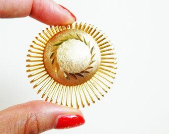 Gold Sunburst Vintage Scarf Clip / Atomic Leaf Motif Clip / Retro Goldtone Scarf Jewelry / West Germany