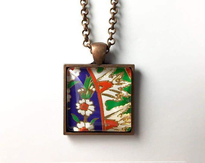 Turkish Art Necklace: Handmade Christmas Gift - Turkey Istanbul Grand Bazaar Iznik - Jewelry Flowers Artwork - Art Pendant