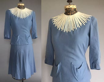 1940s Starburst Wool Skirt Suit - 40s Sky Blue Dress Suit with White Yarn Detail - S