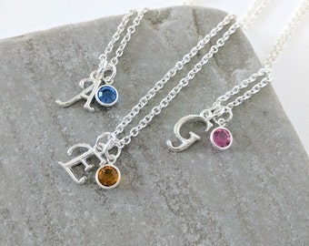 Initial Birthstone Necklace, Initial Necklace, Birthstone Gift, Birthstone Jewellery, Birthday Necklace, Birthday Gift, Sterling Silver