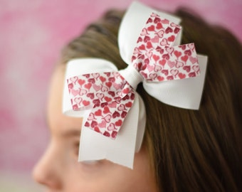 Heart Hair Bow - Red Heart Bow - Pink Heart Bow - Red Pink Hair Clip - Girls Hair Bow - Toddler Bow - Valentine Heart Bow - Little Girl Bows