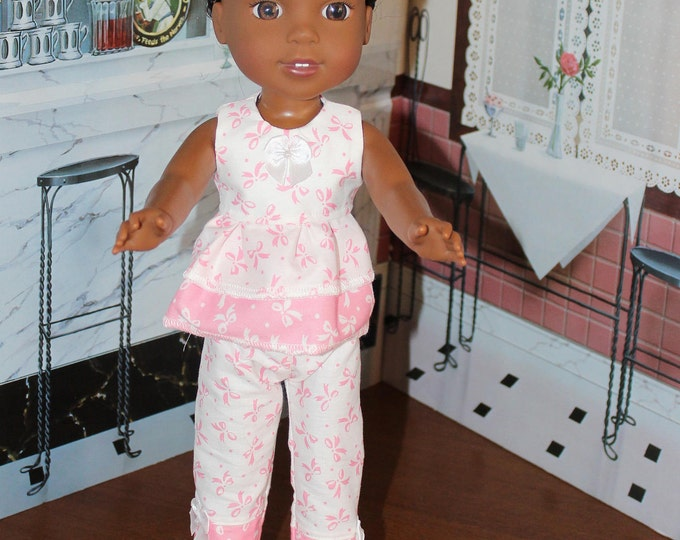 Pink and White Bows Top,Pants with Bows and Sandals. Handmade to fit the Wellie Wisher Dolls and 14 5 inch Dolls, FREE SHIPPING