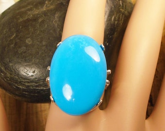 Turquoise Ring, Arizona Blue Natural Turquoise, Huge 24.10 Carats 26.2 x 18.2 mm, December Birthstone