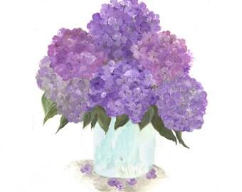 Original Watercolor, Floral Vase Series, Purple Hydrangea Original Watercolor Print, Watercolor, Purple Hydrangea Painting,