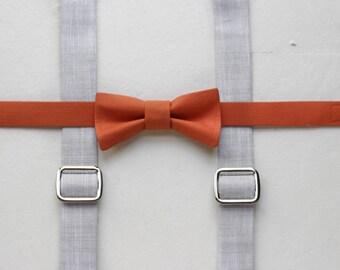 Burnt orange toddler bow tie and suspenders orange boys bow tie gray boys suspenders chambray baby suspenders toddler suspenders and bow tie