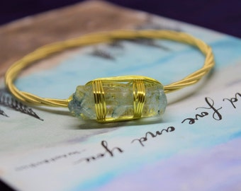 Blue Crystal Quartz Gemstone Guitar String Bangle Gold Silver Wire Wrapped Jewelry Stackable Bangle