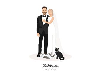 Unique Wedding Gift for Couple - Personalized Wedding Gift - Wedding Portrait Gift -  Unique Wedding Gift Idea for Couple - Couple Portrait