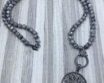 Grey Lace Jasper Beaded Necklace with Large Pave Diamond Lobster Claw