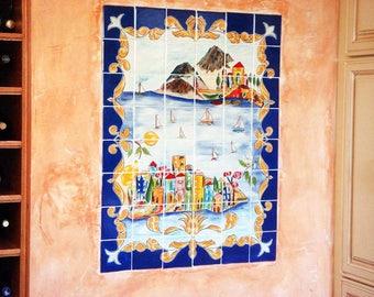 Kitchen backsplash, Decorative tile mural, Bathroom backsplash, Cobalt blue Italian hand painted wall mural. Indoor outdoor porcelain mural
