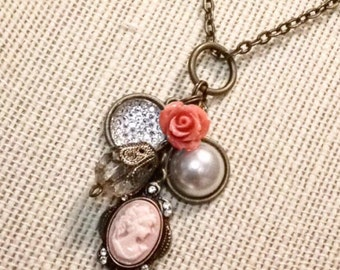 Pink cameo necklace, victorian charm necklace