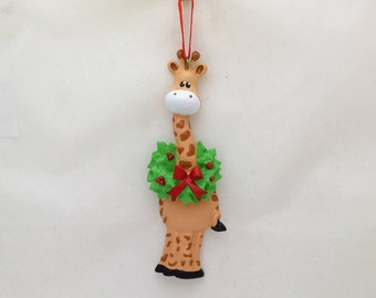 FREE SHIPPING Giraffe Personalized Christmas Ornament / Zoo Animal Ornament / Hand Personalized with Name or Message