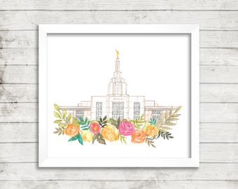Idaho Falls, Idaho LDS Temple Watercolor Print