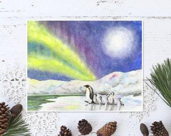 Baby penguin painting Penguin nursery decor Penguins watercolor Emperor penguins print Northern lights Arctic landscape Winter scene print